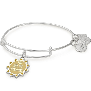 You Are My Sunshine Charm Bangle Shiny Silver