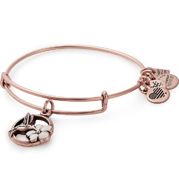 0f511c0d5e024 Hummingbird Charm Bangle The Malala Fund Rafaelian Rose Gold