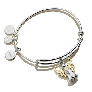 Angel Two Tone Charm Bangle Bracelet Shiny Silver and Gold