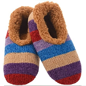 Chenille Striped Slippers Tan Medium 7 - 8