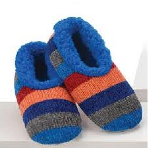 Chenille Striped Slippers Blue Medium 7 - 8