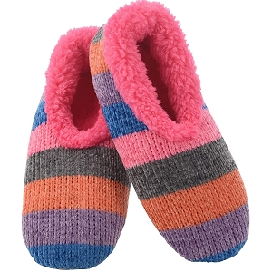 Chenille Striped Slippers Pink Medium 7 - 8