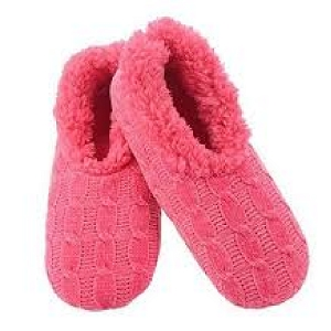 Solid Chenille Slippers Pink Large 9 -10
