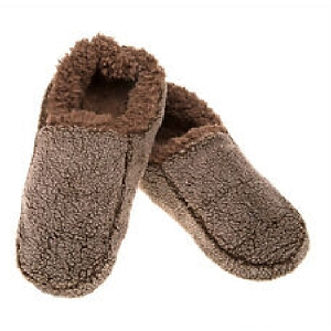 Mens Two Tone Fleece Lined Slippers Chocolate Extra Large Size 13