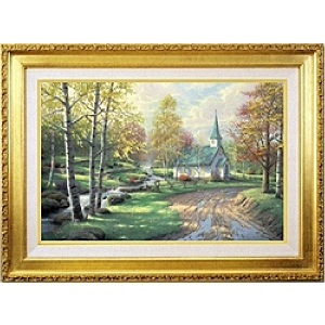 Thomas Kinkade Aspen Chapel 18 x 27 Canvas Framed S/N