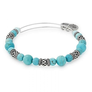 Azure Cove Beaded Bangle Silver