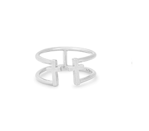 Cross Adjustable Ring Silver