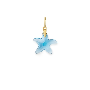 Powder Blue Starfish Necklace Charm Gold