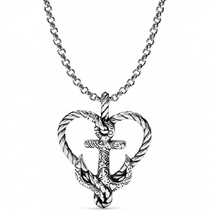 Anchored in Love Heart Silver Plated Necklace D30011