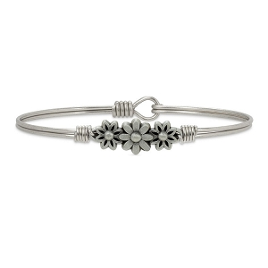 Daisy Bangle Bracelet Silver 7.5