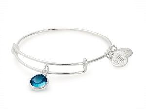 December Blue Zircon Birth Month Charm Bangle With Swarovski Crystal Silver
