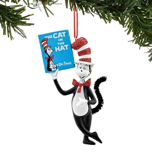 Dr. Seuss Cat in the Hat Cat Holding Book Ornament 4053268