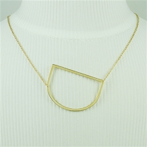 Gold Large Sideways Initial Necklace D