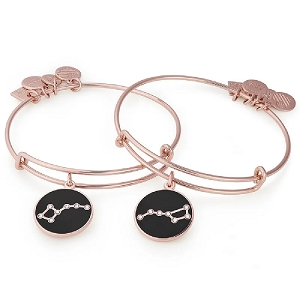 Big and Little Dipper Set of Two Charm Bangles Shiny Rose Gold