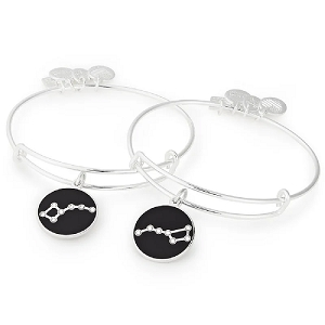 Big and Little Dipper Set of Two Charm Bangles Shiny Silver