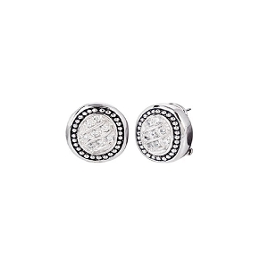 Pave Oval Post with Clip Earrings E3867-RF00
