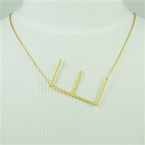 Gold Large Sideways Initial Necklace E