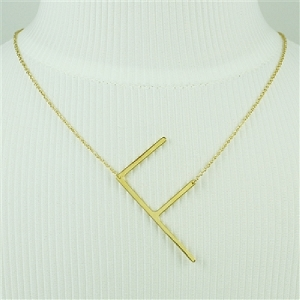 Gold Large Sideways Initial Necklace F