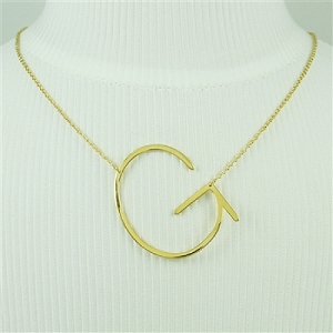 Gold Large Sideways Initial Necklace G