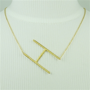 Gold Large Sideways Initial Necklace H