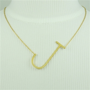 Gold Large Sideways Initial Necklace J