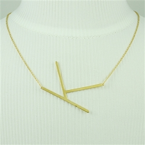 Gold Large Sideways Initial Necklace K