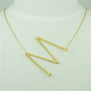 Gold Large Sideways Initial Necklace M