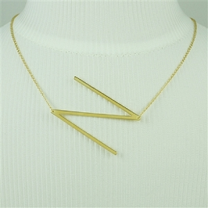 Gold Large Sideways Initial Necklace N