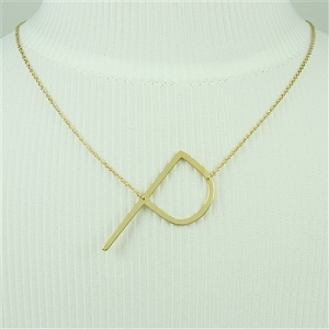 Gold Large Sideways Initial Necklace P