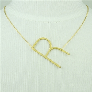 Gold Large Sideways Initial Necklace R