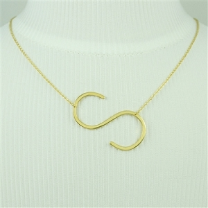 Gold Large Sideways Initial Necklace S