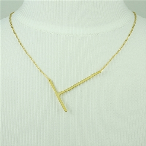 Gold Large Sideways Initial Necklace T