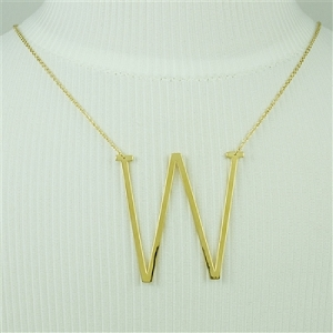 Gold Large Sideways Initial Necklace W