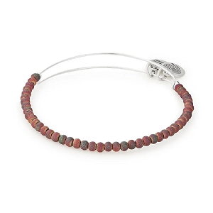 Violet Ether Beaded Bangle Silver