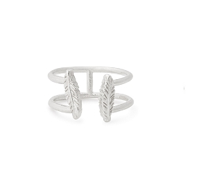 Feather Adjustable Ring Silver