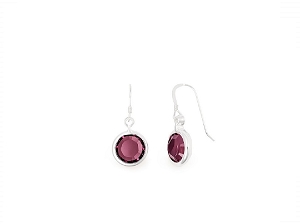 February Amethyst Birth Month Swarovski® Earrings Silver