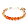 Fire Beaded Bangle with Swarovski Crystals Shiny Gold