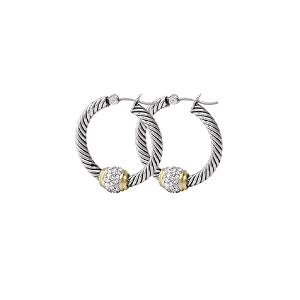Antiqua Pavé Twisted Wire Hoop Earrings G2938-AF00