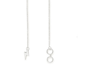 Harry Potter Glasses Lariat Necklace Silver