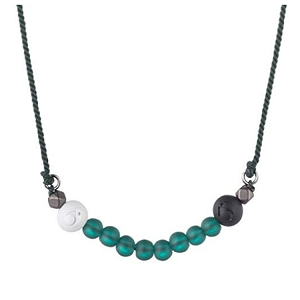 Glass Bead Necklace Forest Green