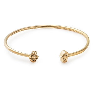 Hand of Fatima Precious Cuff 14kt Gold Bangle
