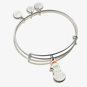 Holiday Snowman Charm Bangle Shiny Silver