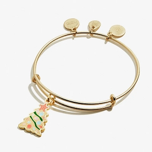 Holiday Seashell Christmas Tree Charm Bangle Shiny Gold