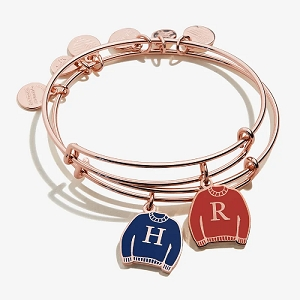 Harry Potter Best Friends Charm Bangle Set of 2 Shiny Rose Gold