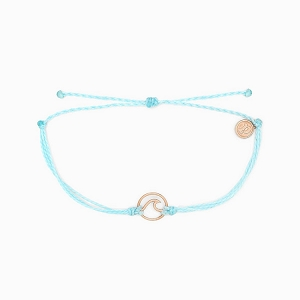 Wave Charm Ice Blue Rose Gold