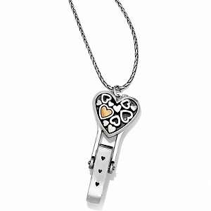 Floating Heart Badge Clip Necklace J45951