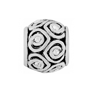 Mini Spiral Hearts Bead Silver J93922