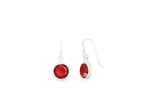 January Garnet Birth Month Swarovski Earrings Silver
