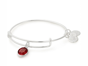 January Garnet Birth Month Bangle With Swarovski Crystal Silver