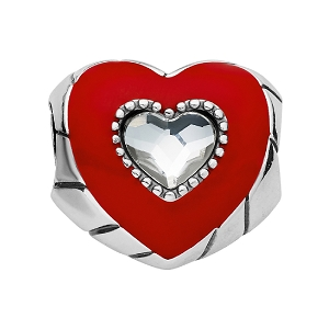 Lovely Heart Bead Silver Red JC5473